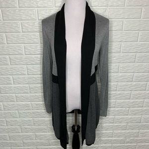WHBM Black & Gray Long Cardigan Sweater